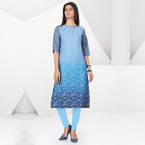 Classy Sky Blue Colored Casual Digital Printed Crepe Kurti