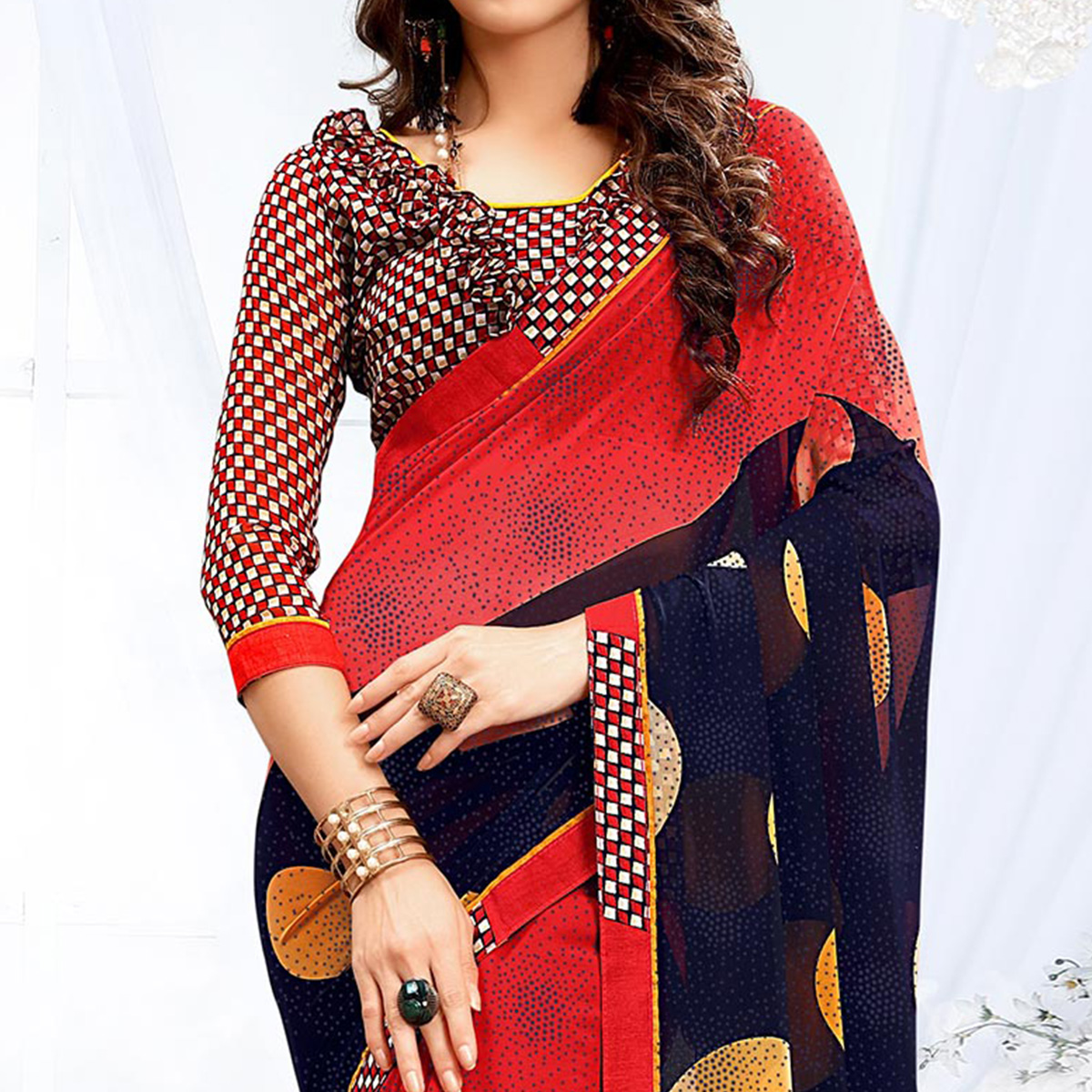 Elegant Red - Blue Georgette Printed Saree