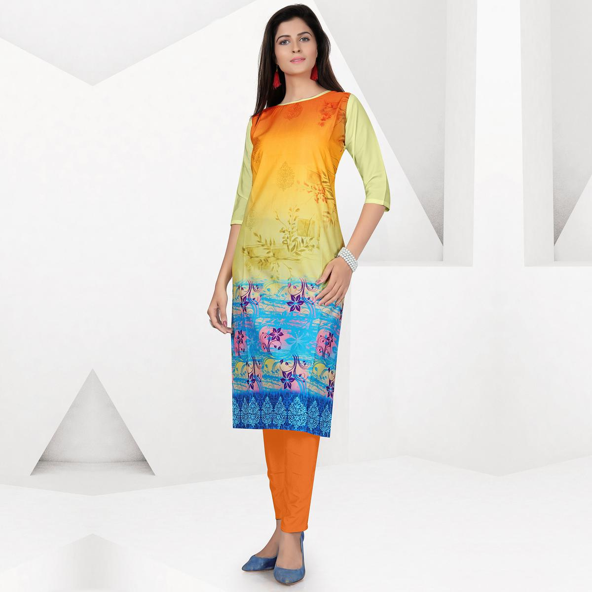Eye-Catching Multicolor Colored Casual Digital Printed Crepe Kurti