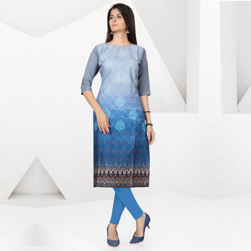 Adorning Gray-Sky Blue Colored Casual Digital Printed Crepe Kurti