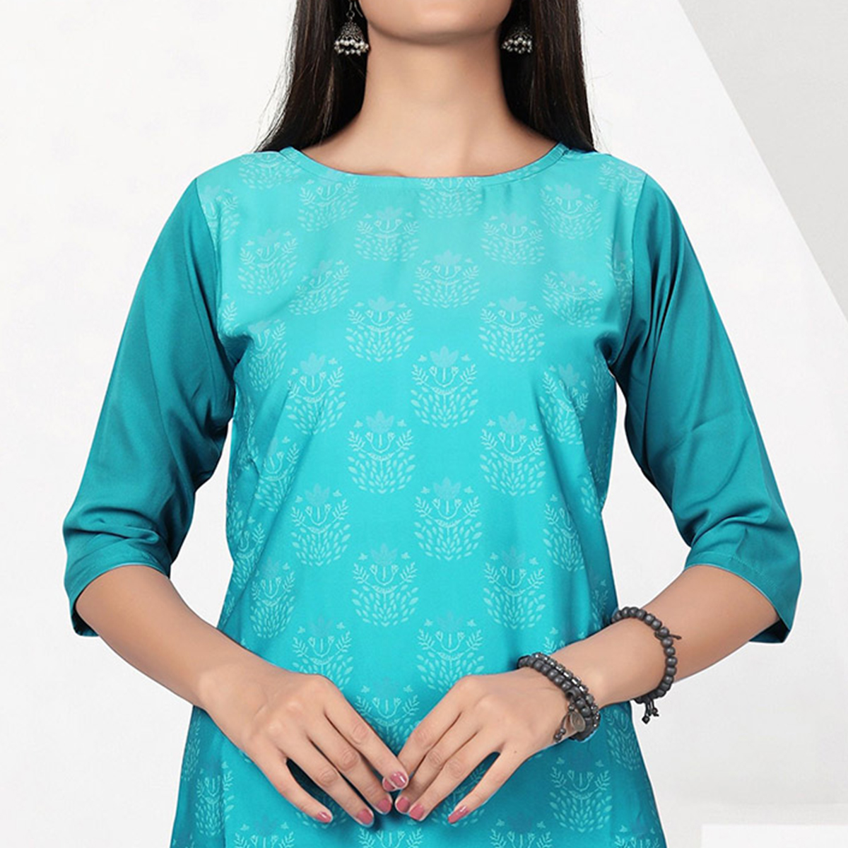 Lovely Aqua Blue Colored Casual Digital Printed Crepe Kurti