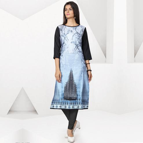 Amazing Sky Blue Color Colored Casual Digital Printed Crepe Kurti