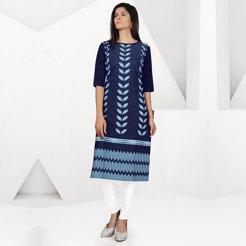 Desirable Navy Blue Colored Casual Digital Printed Crepe Kurti