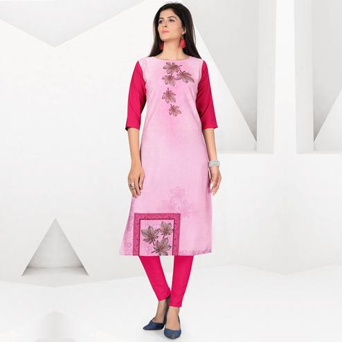 Demanding Pink Colored Casual Digital Printed Crepe Kurti