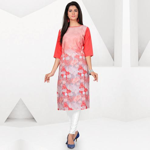 Groovy Gray-Peach Colored Casual Digital Printed Crepe Kurti