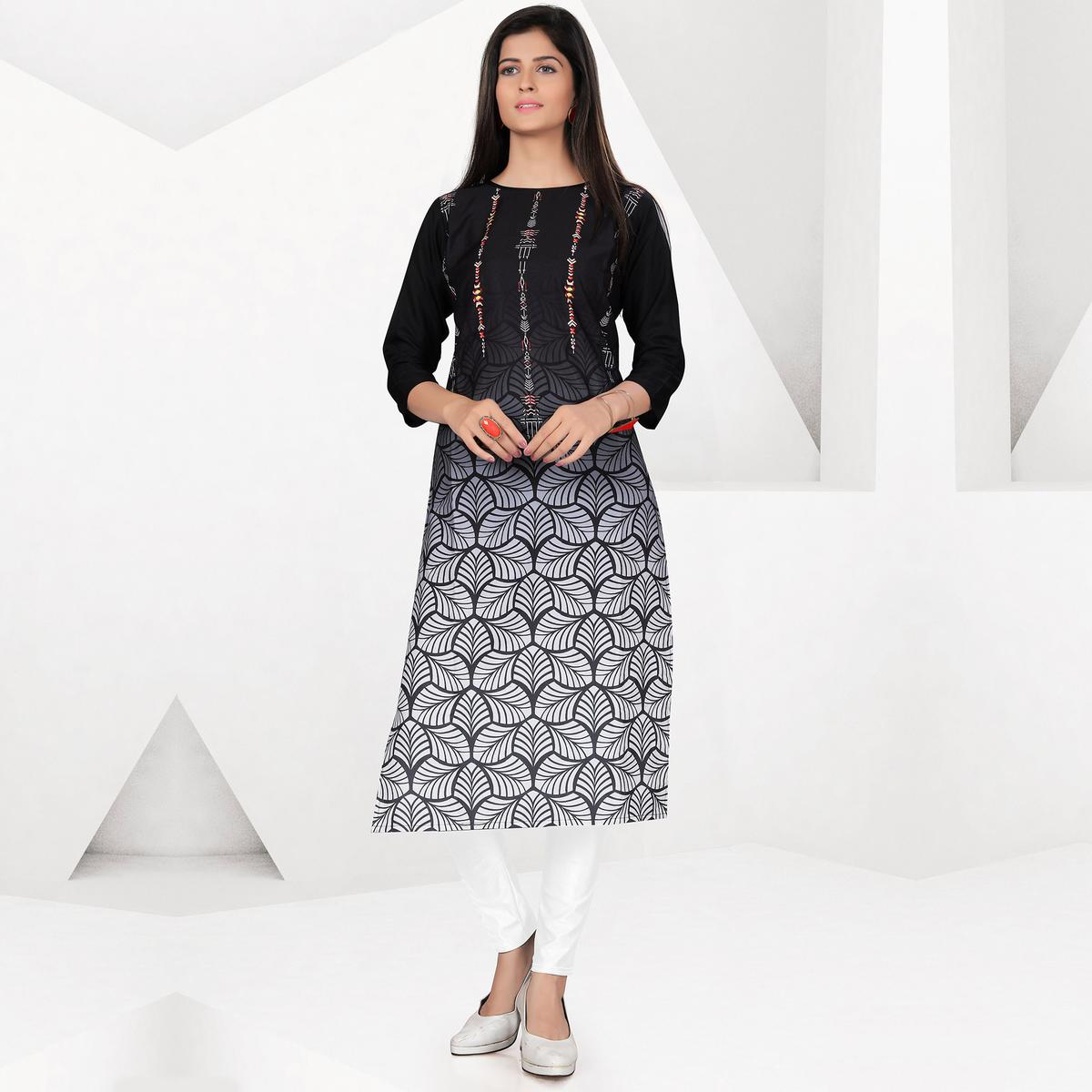 Energetic Black-White Colored Casual Digital Printed Crepe Kurti
