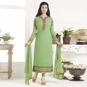 Sizzling Green Designer Embroidered Georgette Salwar Suit