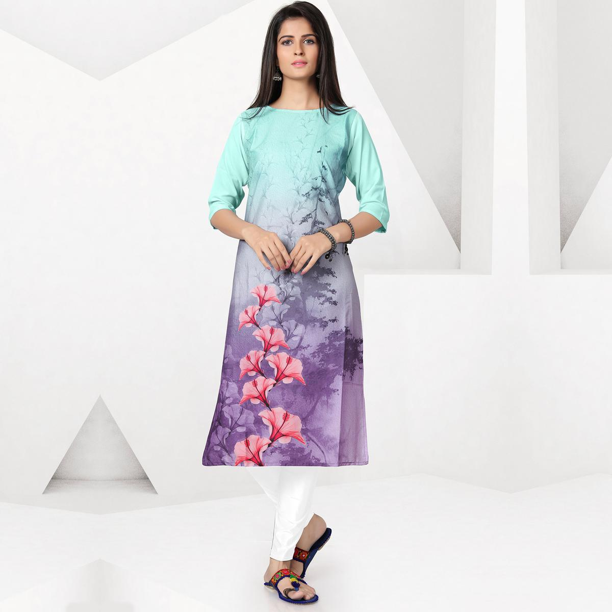 Enchanting Aqua Blue-Lavender Colored Casual Digital Printed Crepe Kurti