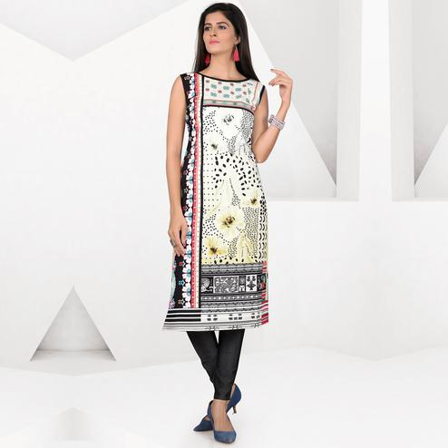 Impressive Multicolor Colored Casual Digital Printed Crepe Kurti
