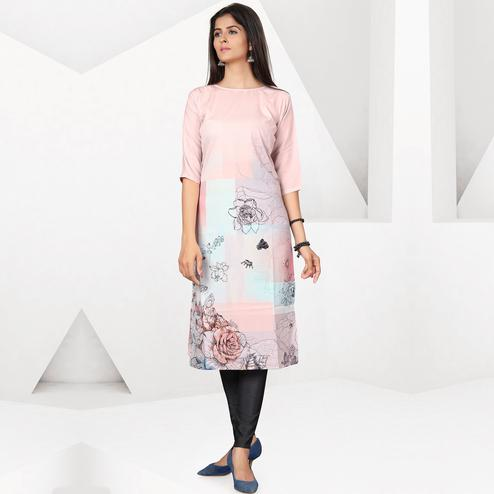 Appealing Peach Colored Casual Digital Printed Crepe Kurti