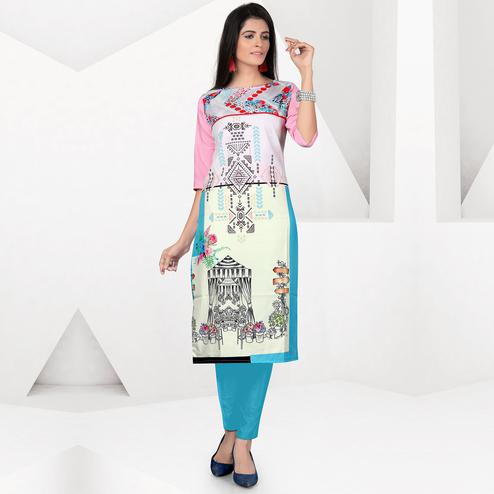 Gorgeous Multicolor Colored Casual Digital Printed Crepe Kurti