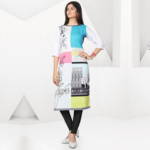 Glorious Multicolor Colored Casual Digital Printed Crepe Kurti