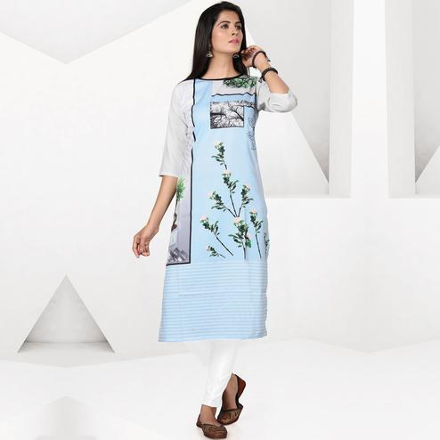 Gleaming Light Sky Blue Colored Casual Digital Printed Crepe Kurti