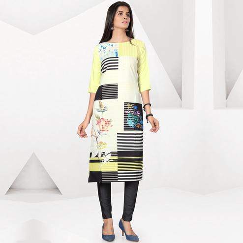 Pleasant Yellow-White Colored Casual Digital Printed Crepe Kurti