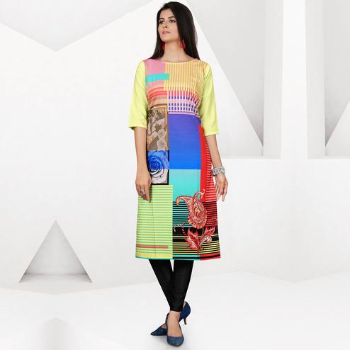 Blooming Multi Colored Casual Digital Printed Crepe Kurti