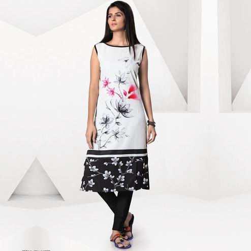 Magnetic White-Black Colored Casual Digital Printed Crepe Kurti