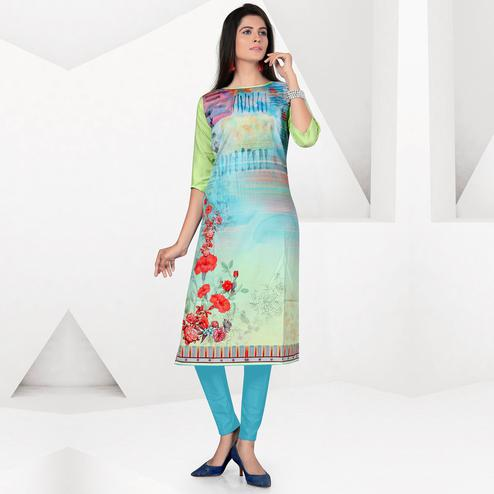 Flaunt Multicolor Colored Casual Digital Printed Crepe Kurti