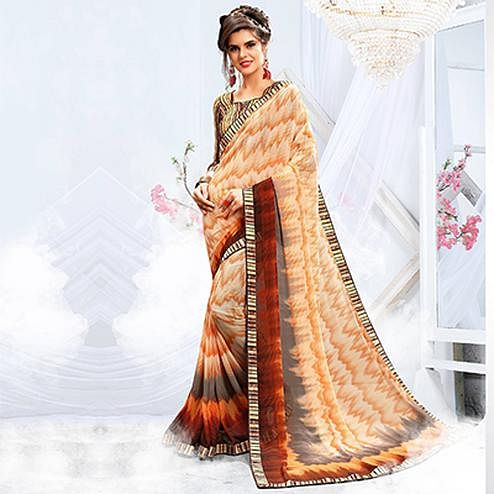 Gorgeous Cream - Orange Georgette Printed Saree