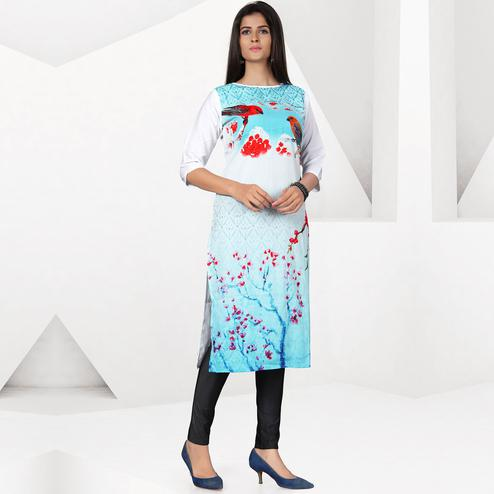 Favorite Sky Blue-White Colored Casual Digital Printed Crepe Kurti