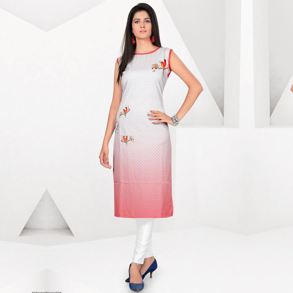 Fab Off White-Red Colored Casual Digital Printed Crepe Kurti