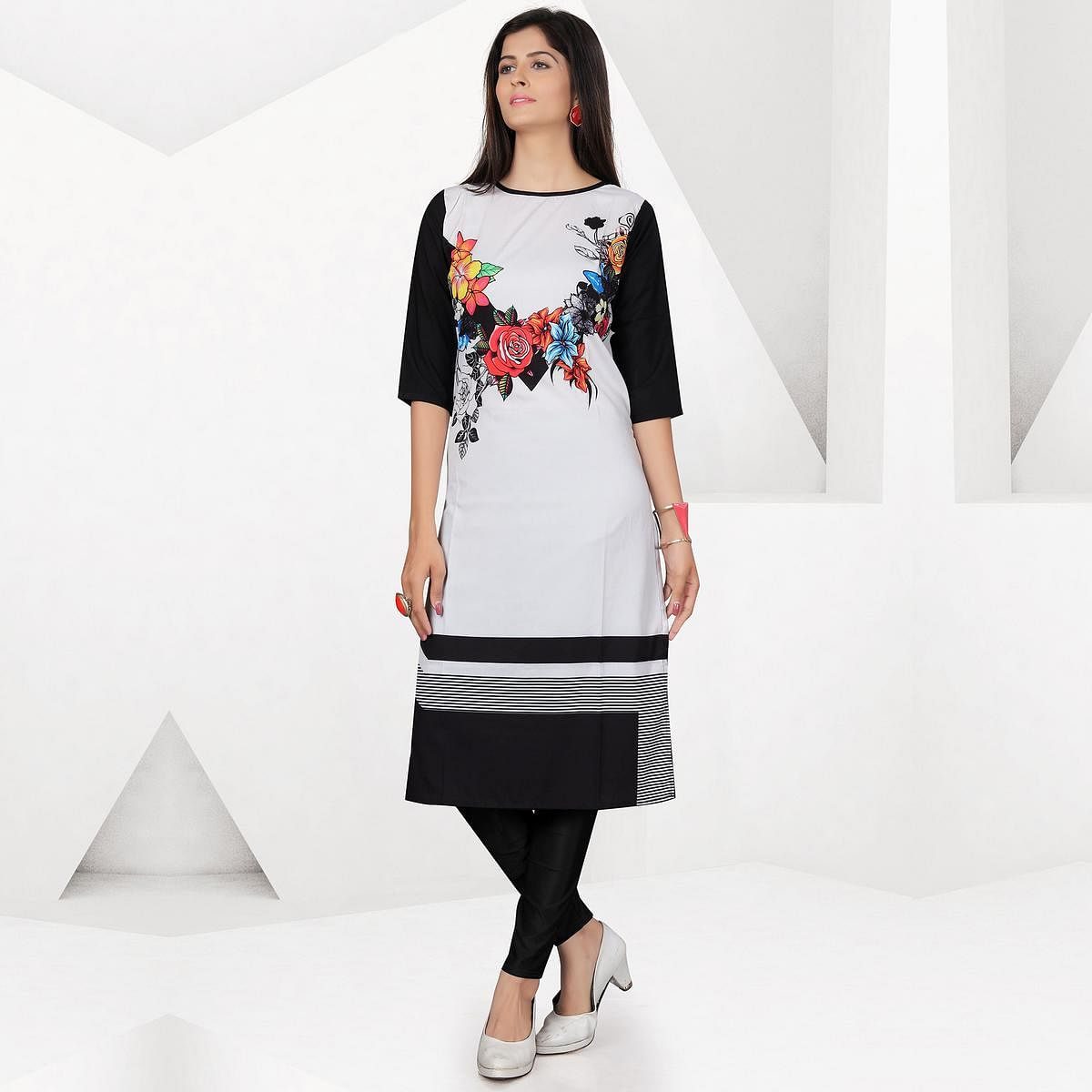 Staring Off-White-Black Colored Casual Digital Printed Crepe Kurti