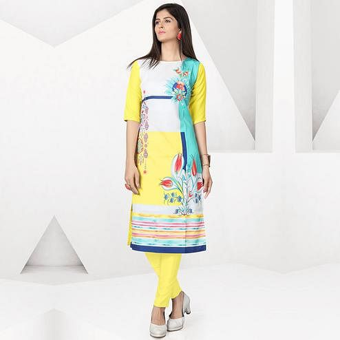 Flattering Yellow Colored Casual Digital Printed Crepe Kurti
