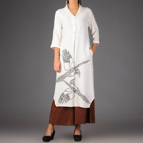 Beautiful White-Brown Colored Casual Printed Rayon Palazzo Suit