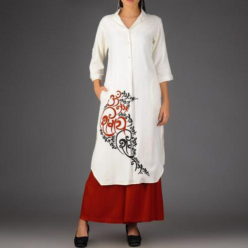 Classy White-Red Colored Casual Printed Rayon Palazzo Suit