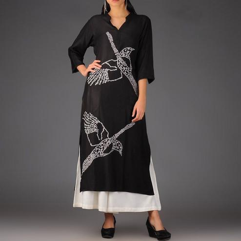 Lovely Black Colored Casual Printed Rayon Palazzo Suit
