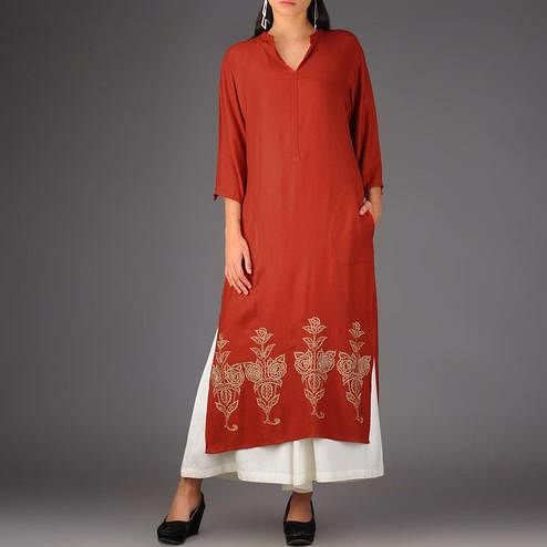Attractive Red Colored Casual Printed Rayon Palazzo Suit
