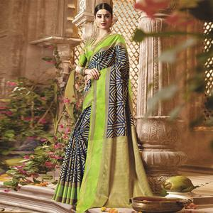 Adorable Blue - Green Colored Festive Wear Woven Cotton Silk Saree