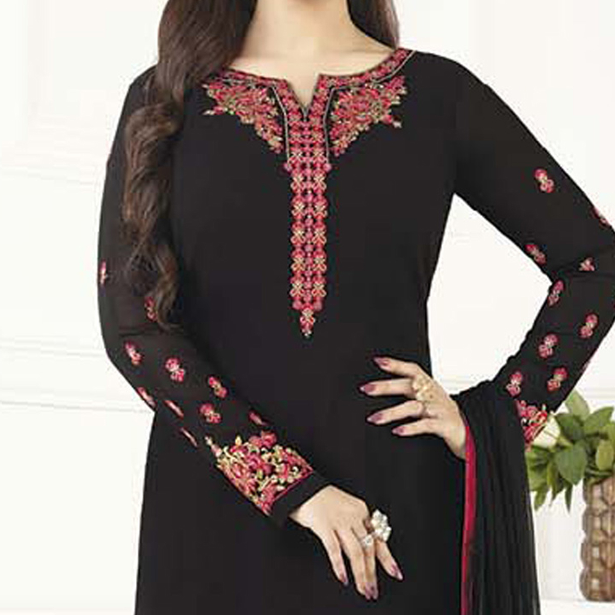 Delightful Black Designer Embroidered Georgette Salwar Suit