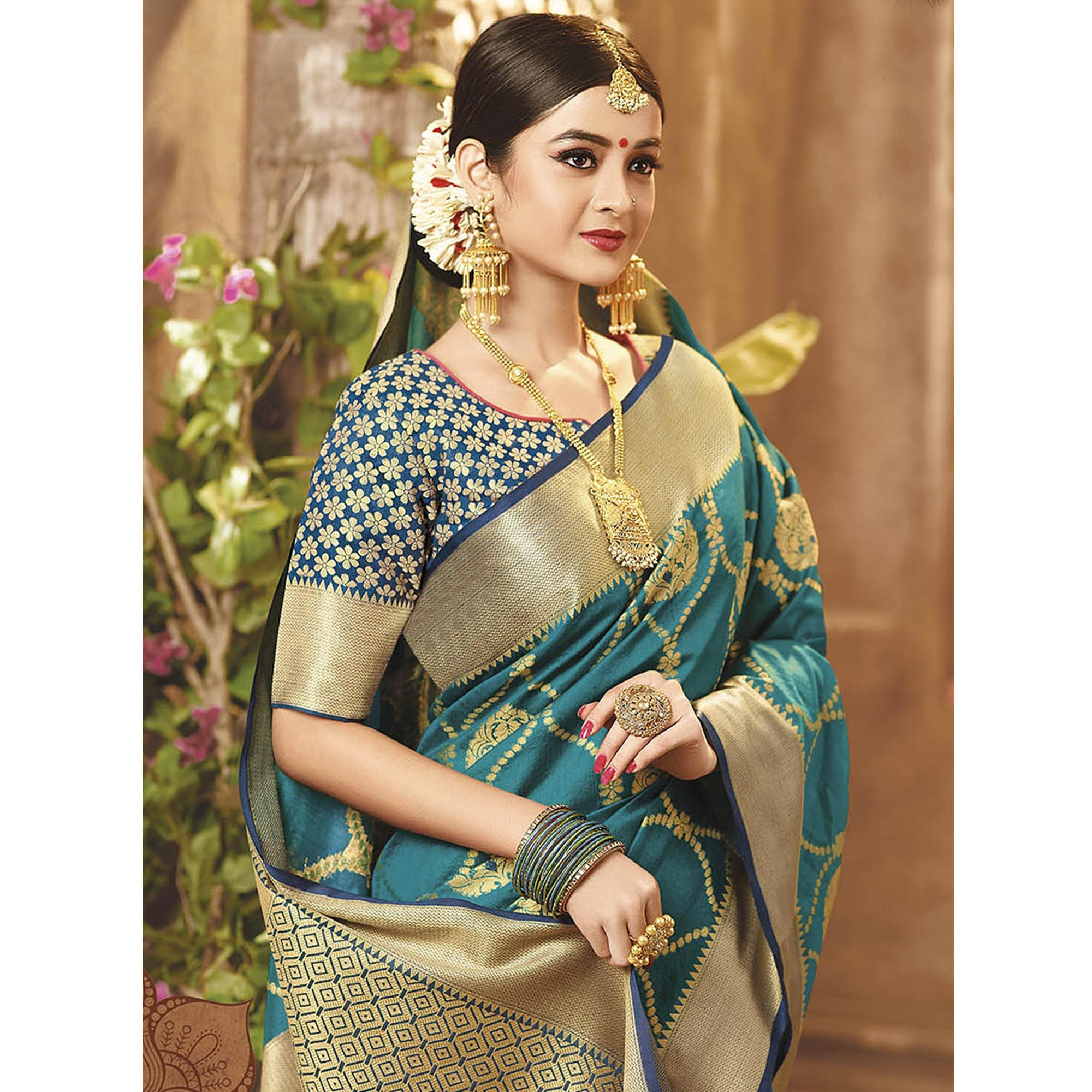 Attractive Teal Green Colored Festive Wear Woven Cotton Silk Saree
