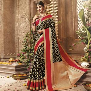 Gorgeous Black Colored Festive Wear Woven Cotton Silk Saree