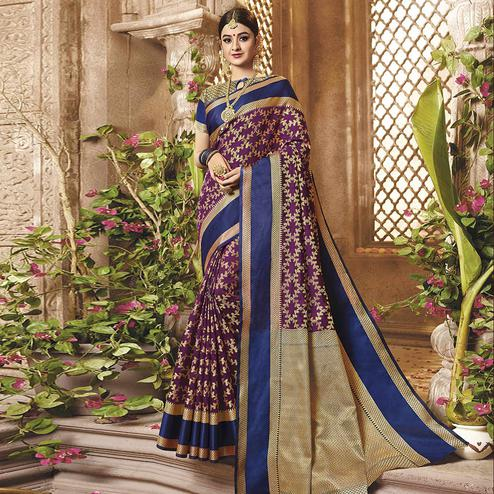 Lovely Purple Colored Festive Wear Woven Cotton Silk Saree