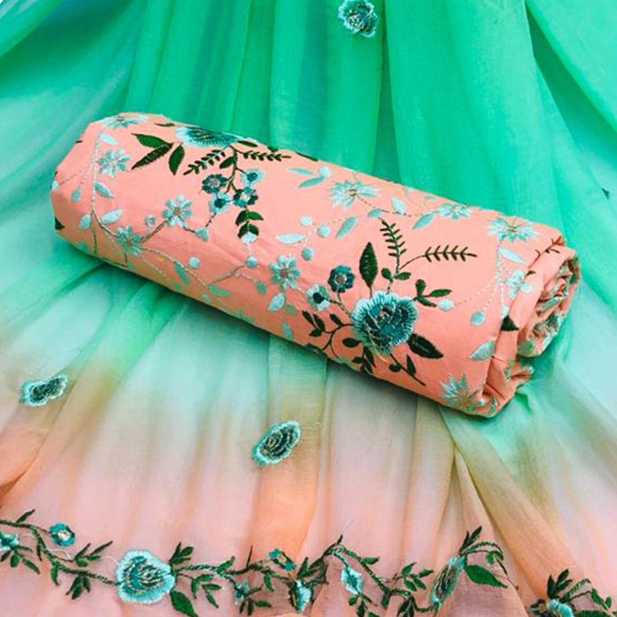Amazing Peach Colored Partywear Embroidered Cotton Dress Material
