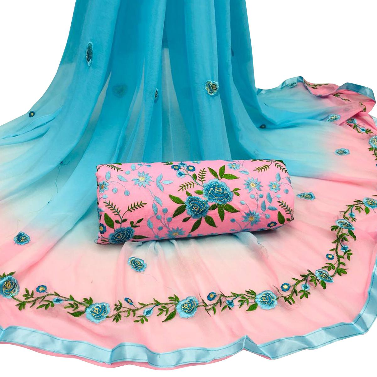 Desiring Pink Colored Partywear Embroidered Cotton Dress Material