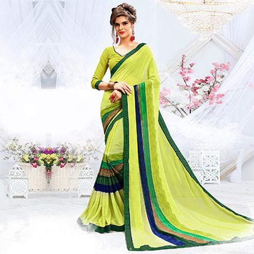 Attractive Light Green Georgette Printed Saree