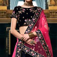 Appealing Black Colored Wedding Wear Embroidered Heavy Velvet Lehenga Choli