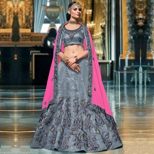 Groovy Grey Colored Wedding Wear Embroidered Organza Lehenga Choli
