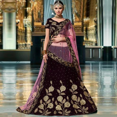 Adorning Dark Purple Colored Wedding Wear Embroidered Heavy Velvet Lehenga Choli