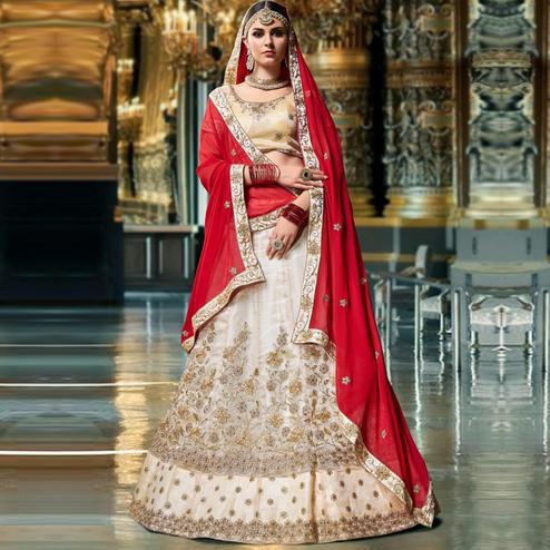 Captivating Off-White Colored Wedding Wear Embroidered Organza Lehenga Choli