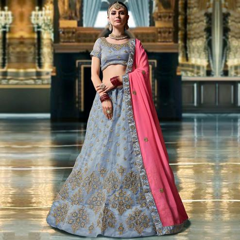 Flirty Steel Blue Colored Wedding Wear Embroidered Organza Lehenga Choli