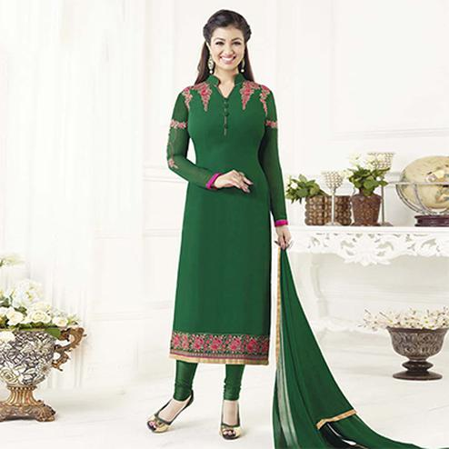 Beautiful Bottle Green Designer Embroidered Georgette Salwar Suit