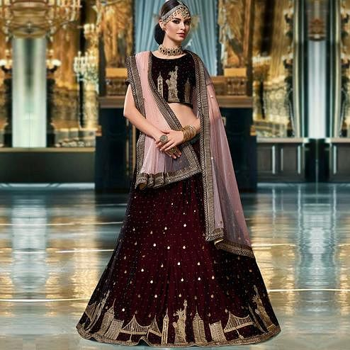 Trendy Wine Colored Wedding Wear Embroidered Heavy Velvet Lehenga Choli