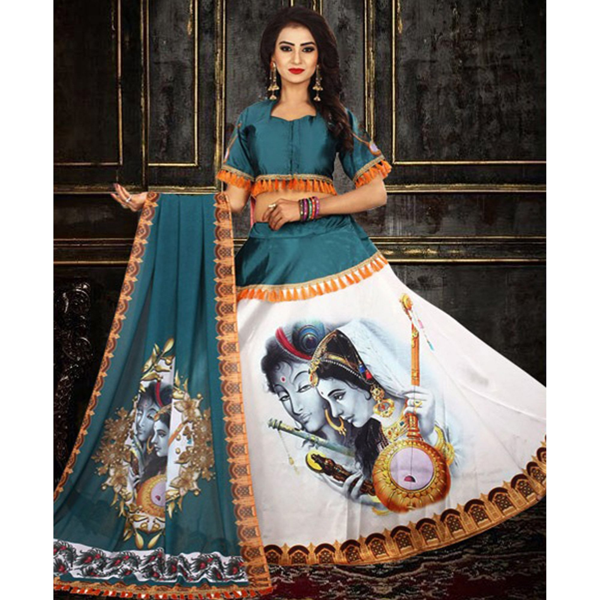 Stunning Stone Blue - White Designer Digital Printed Tapetta Silk Lehenga Choli