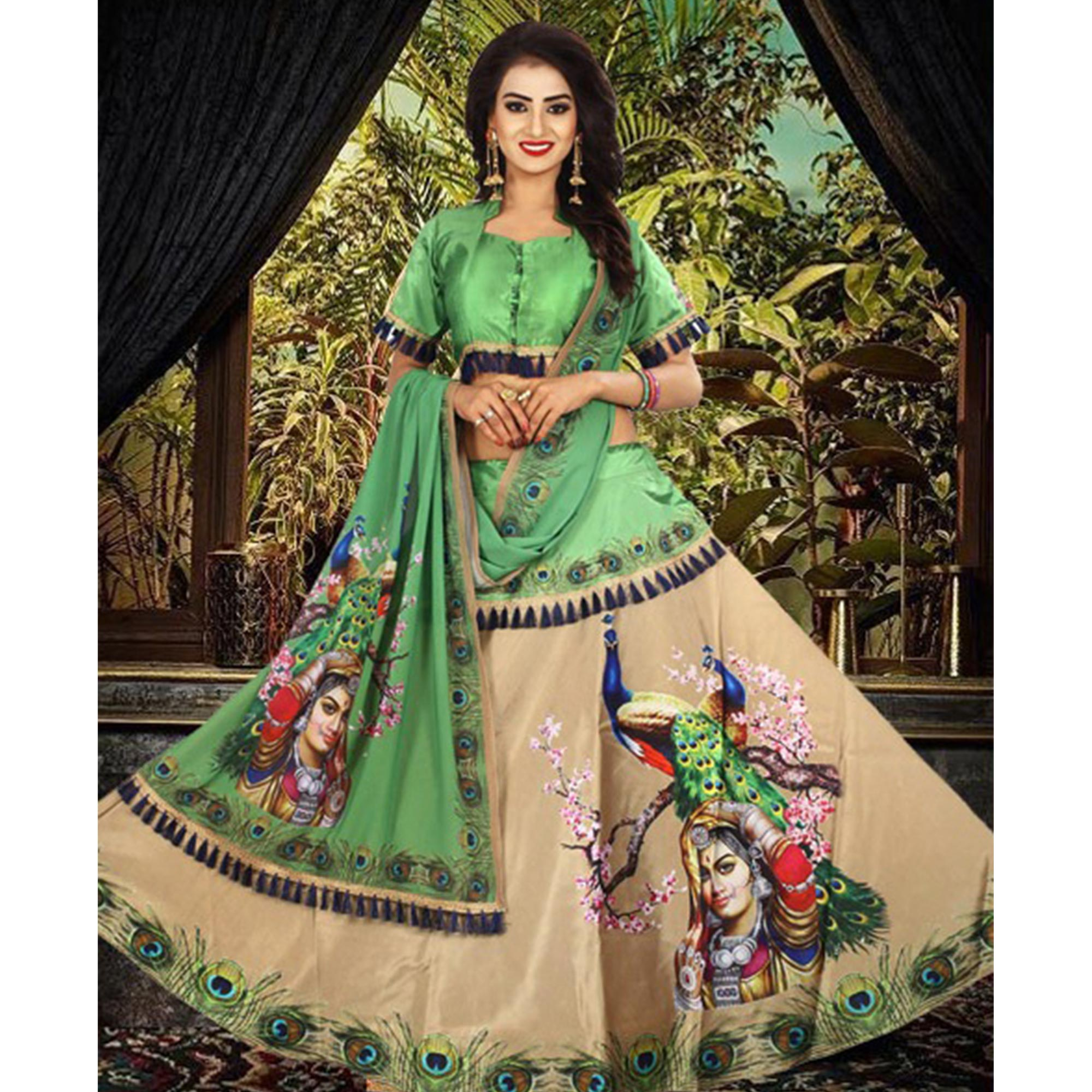 Beautiful Beige - Green Designer Digital Printed Tapetta Silk Lehenga Choli