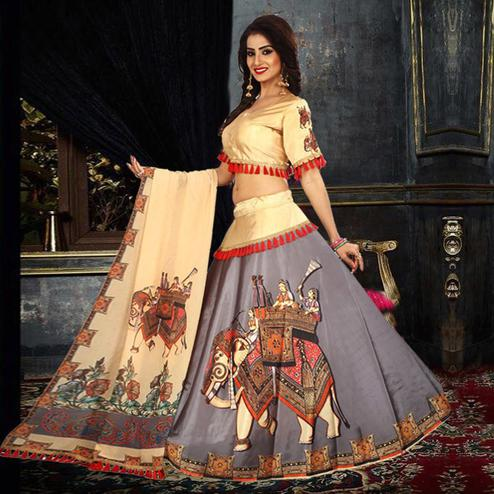 Gorgeous Gray Colored Designer Digital Printed Tapetta Silk Lehenga Choli