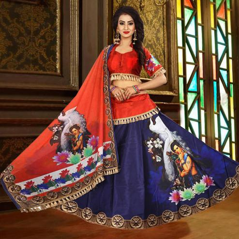 Classy Blue - Red Designer Digital Printed Tapetta Silk Lehenga Choli