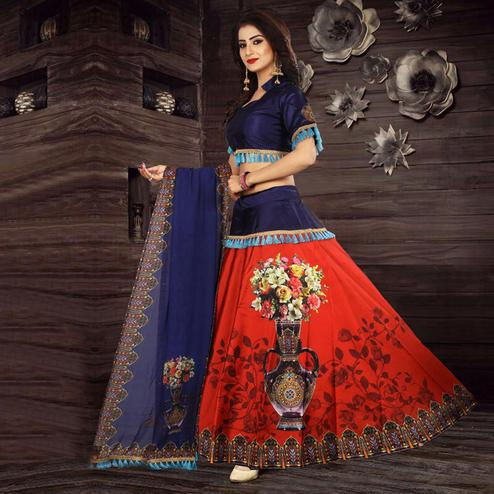 Ravishing Red - Blue Designer Digital Printed Tapetta Silk Lehenga Choli
